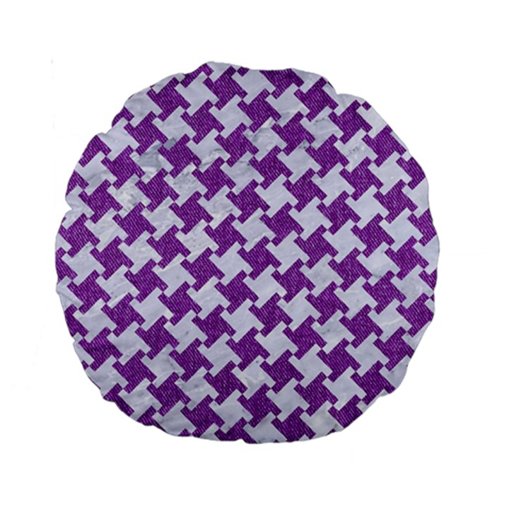 HOUNDSTOOTH2 WHITE MARBLE & PURPLE DENIM Standard 15  Premium Round Cushions