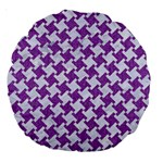 HOUNDSTOOTH2 WHITE MARBLE & PURPLE DENIM Large 18  Premium Round Cushions Back