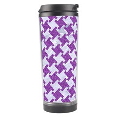 Houndstooth2 White Marble & Purple Denim Travel Tumbler by trendistuff