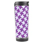 HOUNDSTOOTH2 WHITE MARBLE & PURPLE DENIM Travel Tumbler Right