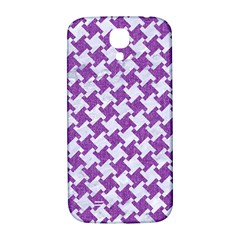 Houndstooth2 White Marble & Purple Denim Samsung Galaxy S4 I9500/i9505  Hardshell Back Case by trendistuff
