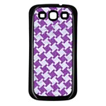 HOUNDSTOOTH2 WHITE MARBLE & PURPLE DENIM Samsung Galaxy S3 Back Case (Black) Front