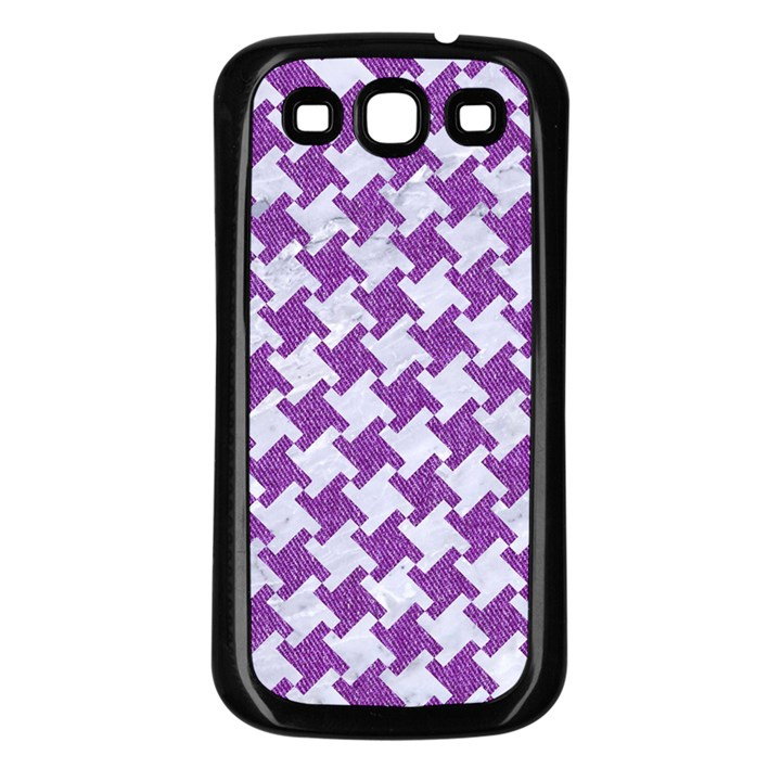 HOUNDSTOOTH2 WHITE MARBLE & PURPLE DENIM Samsung Galaxy S3 Back Case (Black)
