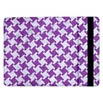 HOUNDSTOOTH2 WHITE MARBLE & PURPLE DENIM Samsung Galaxy Tab Pro 12.2  Flip Case Front