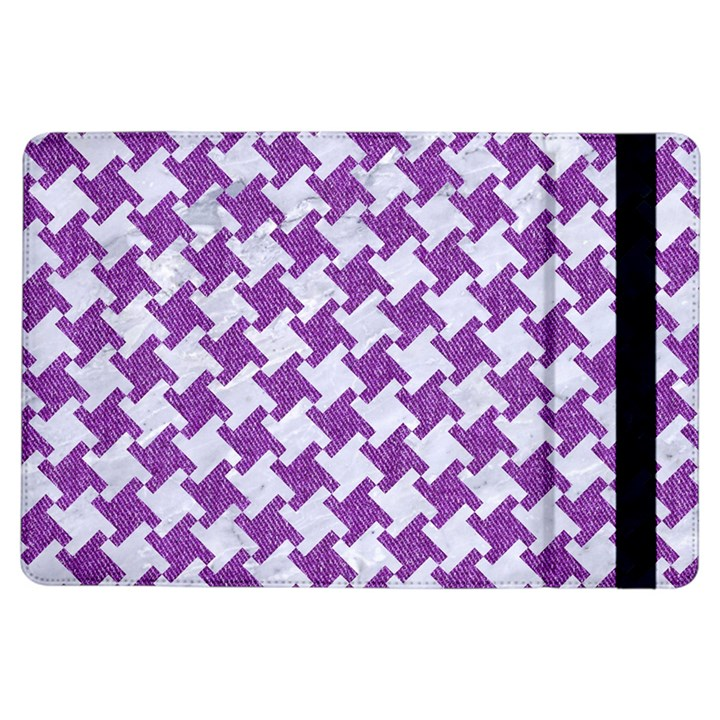 HOUNDSTOOTH2 WHITE MARBLE & PURPLE DENIM iPad Air Flip
