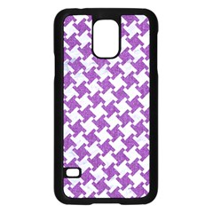 Houndstooth2 White Marble & Purple Denim Samsung Galaxy S5 Case (black)