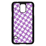 HOUNDSTOOTH2 WHITE MARBLE & PURPLE DENIM Samsung Galaxy S5 Case (Black) Front