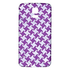 Houndstooth2 White Marble & Purple Denim Samsung Galaxy S5 Back Case (white)