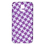 HOUNDSTOOTH2 WHITE MARBLE & PURPLE DENIM Samsung Galaxy S5 Back Case (White) Front