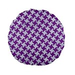 HOUNDSTOOTH2 WHITE MARBLE & PURPLE DENIM Standard 15  Premium Flano Round Cushions Back