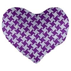 Houndstooth2 White Marble & Purple Denim Large 19  Premium Flano Heart Shape Cushions by trendistuff