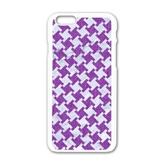 Houndstooth2 White Marble & Purple Denim Apple Iphone 6/6s White Enamel Case by trendistuff