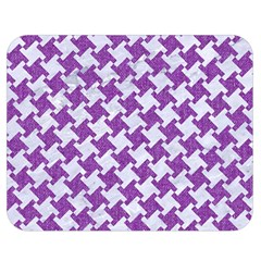 Houndstooth2 White Marble & Purple Denim Double Sided Flano Blanket (medium)