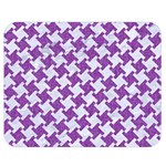 HOUNDSTOOTH2 WHITE MARBLE & PURPLE DENIM Double Sided Flano Blanket (Medium)  60 x50 Blanket Front