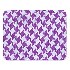 Houndstooth2 White Marble & Purple Denim Double Sided Flano Blanket (large)