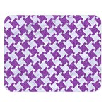 HOUNDSTOOTH2 WHITE MARBLE & PURPLE DENIM Double Sided Flano Blanket (Large)  80 x60 Blanket Front