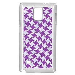 Houndstooth2 White Marble & Purple Denim Samsung Galaxy Note 4 Case (white) by trendistuff