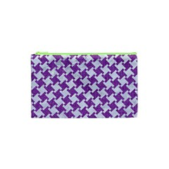 Houndstooth2 White Marble & Purple Denim Cosmetic Bag (xs)