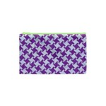 HOUNDSTOOTH2 WHITE MARBLE & PURPLE DENIM Cosmetic Bag (XS) Front