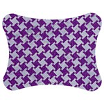 HOUNDSTOOTH2 WHITE MARBLE & PURPLE DENIM Jigsaw Puzzle Photo Stand (Bow) Front