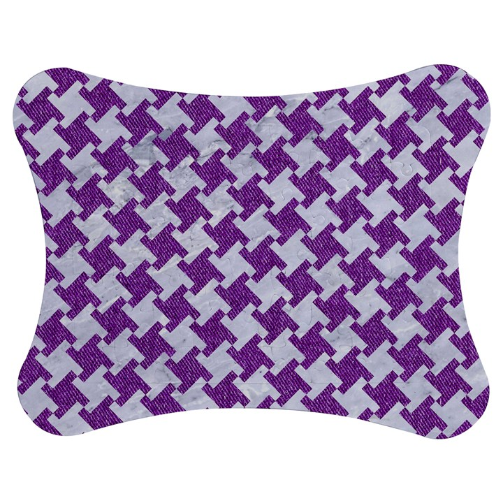 HOUNDSTOOTH2 WHITE MARBLE & PURPLE DENIM Jigsaw Puzzle Photo Stand (Bow)