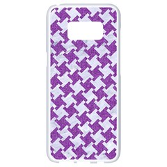 Houndstooth2 White Marble & Purple Denim Samsung Galaxy S8 White Seamless Case by trendistuff