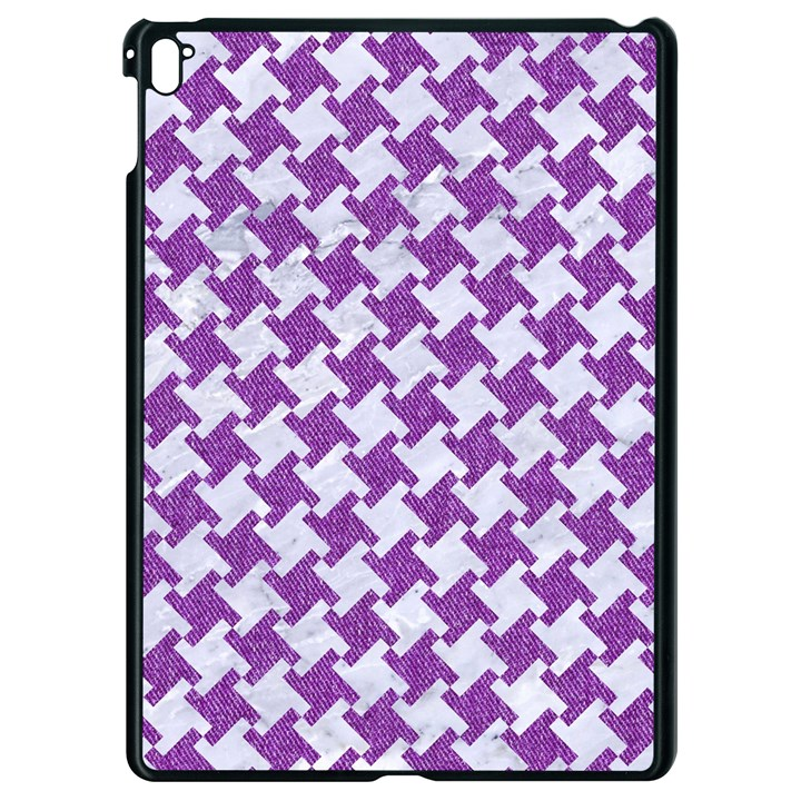 HOUNDSTOOTH2 WHITE MARBLE & PURPLE DENIM Apple iPad Pro 9.7   Black Seamless Case