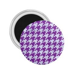 Houndstooth1 White Marble & Purple Denim 2 25  Magnets