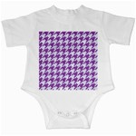 HOUNDSTOOTH1 WHITE MARBLE & PURPLE DENIM Infant Creepers Front