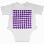 HOUNDSTOOTH1 WHITE MARBLE & PURPLE DENIM Infant Creepers Back