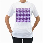 HOUNDSTOOTH1 WHITE MARBLE & PURPLE DENIM Women s T-Shirt (White) (Two Sided) Front