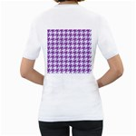 HOUNDSTOOTH1 WHITE MARBLE & PURPLE DENIM Women s T-Shirt (White) (Two Sided) Back
