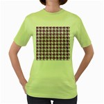 HOUNDSTOOTH1 WHITE MARBLE & PURPLE DENIM Women s Green T-Shirt Front