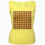HOUNDSTOOTH1 WHITE MARBLE & PURPLE DENIM Women s Yellow Tank Top Front