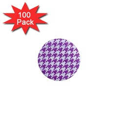 Houndstooth1 White Marble & Purple Denim 1  Mini Magnets (100 Pack)