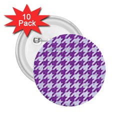 Houndstooth1 White Marble & Purple Denim 2 25  Buttons (10 Pack)