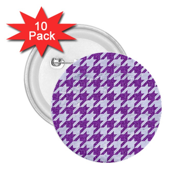 HOUNDSTOOTH1 WHITE MARBLE & PURPLE DENIM 2.25  Buttons (10 pack)