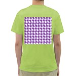 HOUNDSTOOTH1 WHITE MARBLE & PURPLE DENIM Green T-Shirt Back