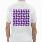 HOUNDSTOOTH1 WHITE MARBLE & PURPLE DENIM Golf Shirts Back