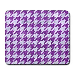 Houndstooth1 White Marble & Purple Denim Large Mousepads by trendistuff