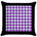 HOUNDSTOOTH1 WHITE MARBLE & PURPLE DENIM Throw Pillow Case (Black) Front