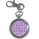 HOUNDSTOOTH1 WHITE MARBLE & PURPLE DENIM Key Chain Watches Front