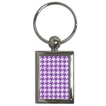 HOUNDSTOOTH1 WHITE MARBLE & PURPLE DENIM Key Chains (Rectangle)  Front