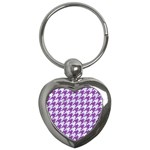 HOUNDSTOOTH1 WHITE MARBLE & PURPLE DENIM Key Chains (Heart)  Front