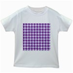 HOUNDSTOOTH1 WHITE MARBLE & PURPLE DENIM Kids White T-Shirts Front