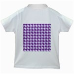 HOUNDSTOOTH1 WHITE MARBLE & PURPLE DENIM Kids White T-Shirts Back