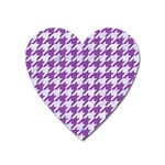 HOUNDSTOOTH1 WHITE MARBLE & PURPLE DENIM Heart Magnet Front