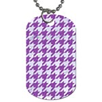 HOUNDSTOOTH1 WHITE MARBLE & PURPLE DENIM Dog Tag (Two Sides) Front