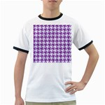 HOUNDSTOOTH1 WHITE MARBLE & PURPLE DENIM Ringer T-Shirts Front