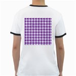 HOUNDSTOOTH1 WHITE MARBLE & PURPLE DENIM Ringer T-Shirts Back